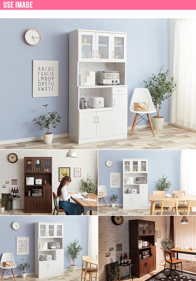 OLIVA LAUREL キッチンレンジ台|配置イメージ カフェ風キッチンボード すっきりホワイトキッチンボード
