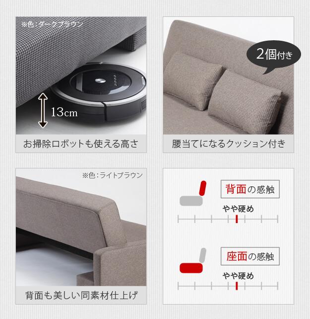 機能的なソファベッド。クッション2個付き